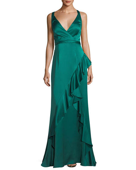 Aidan Mattox Sleeveless Asymmetric Ruffled Satin Evening Gown