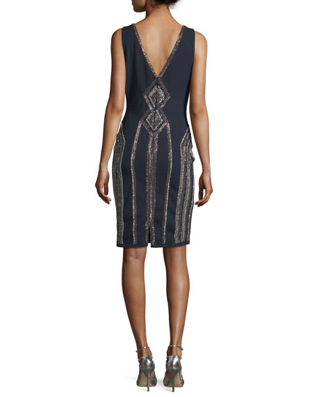 Sleeveless V-Neck Geometric-Beaded Cocktail Sheath Dress