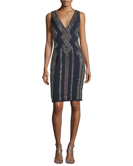 Aidan Mattox Sleeveless V-Neck Geometric-Beaded Cocktail Sheath