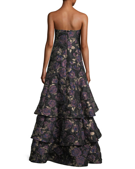 Floral Metallic Brocade Tiered-Skirt Evening Gown