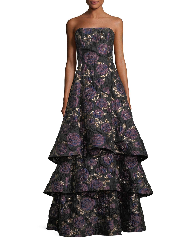 Aidan Mattox Floral Metallic Brocade Tiered Skirt Evening Gown