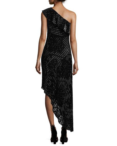 One-Shoulder Striped Devoré Asymmetric Cocktail Dress
