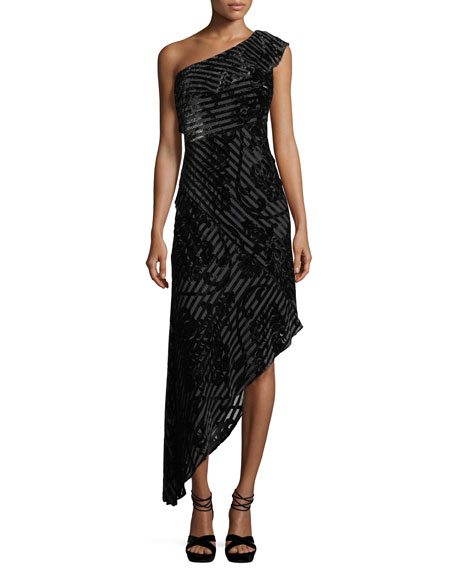 Aidan Mattox One-Shoulder Striped Devoré Asymmetric Cocktail