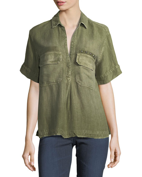 AG Anson Military-Inspired Short-Sleeve Twill Top