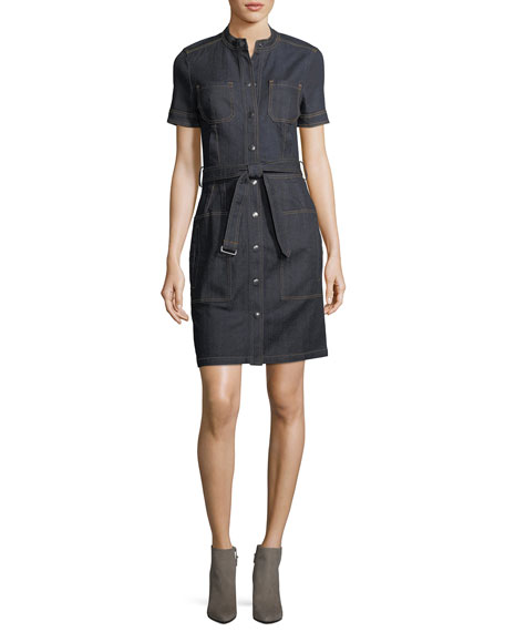 AG Aurelie Snap-Front Short-Sleeve Denim Dress