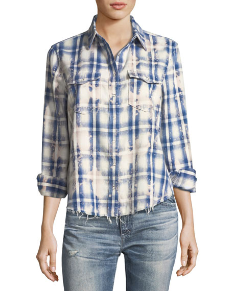 AG Beth Washed Grid-Print Snap-Front Cotton Shirt