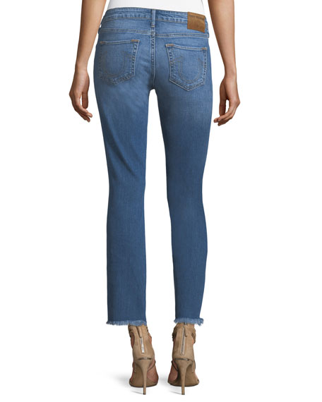 Sara Distressed Cigarette Crop Frayed Jeans