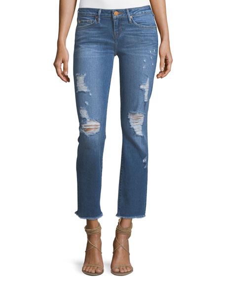 True Religion Sara Distressed Cigarette Crop Frayed Jeans