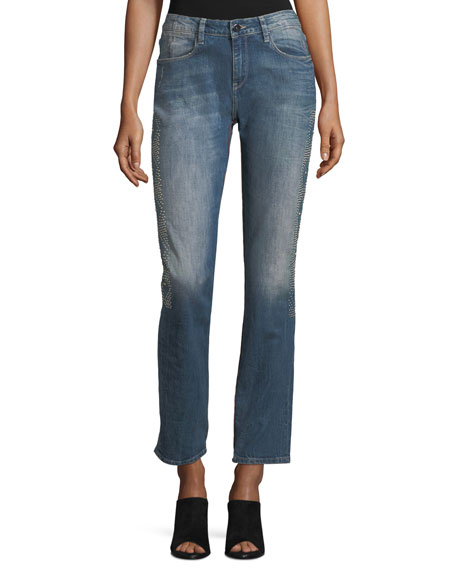 Brockenbow Stardust Beaded Straight-Leg Cropped Boyfriend Jeans