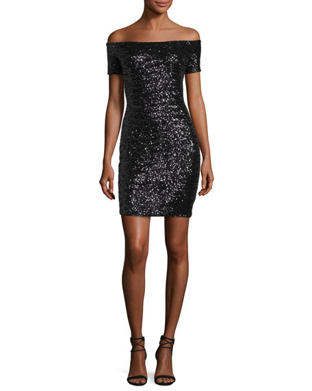 Aidan by Aidan Mattox Off-the-Shoulder Fitted Sequin Cocktail