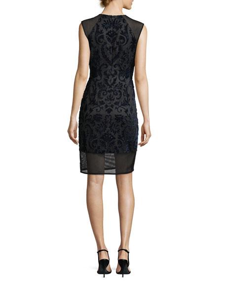 Sleeveless Flocked Velvet Cocktail Sheath Dress