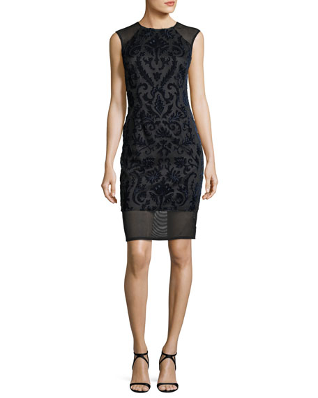 Aidan by Aidan Mattox Sleeveless Flocked Velvet Cocktail