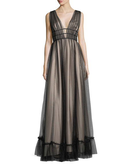 ZAC Zac Posen Ruth Sleeveless Plunging Evening Gown