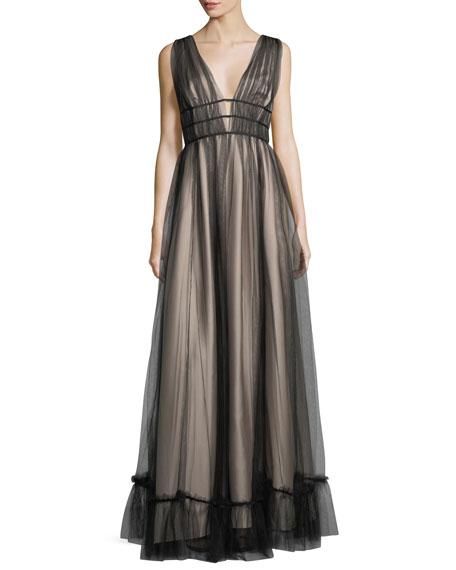 ZAC Zac Posen Ruth Sleeveless Plunging Evening Gown