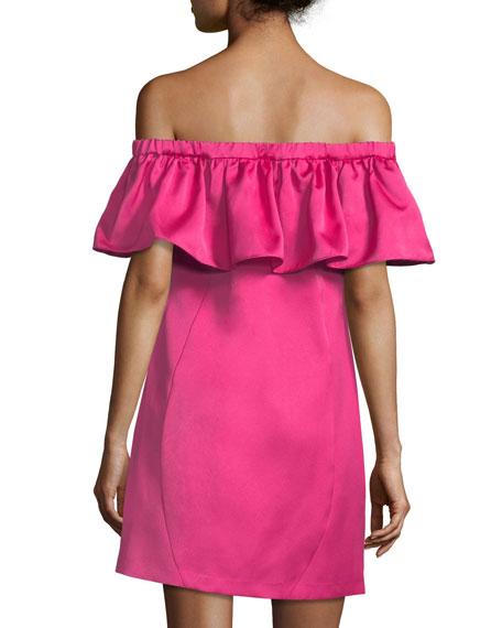Crystal Off-the-Shoulder Mini Cocktail Dress