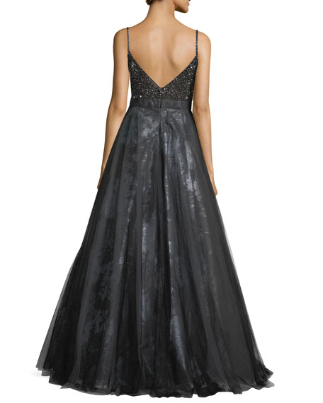 Beaded Slip Top Metallic Floral Evening Ball Gown