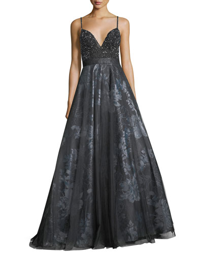 Evening gowns on sale at neiman marcus beaded slip top metallic floral evening ball gown junglespirit Choice Image