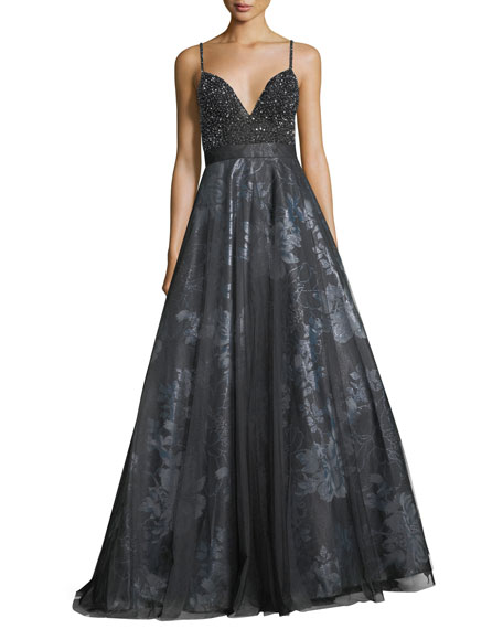 Jovani Beaded Slip Top Metallic Floral Evening Ball