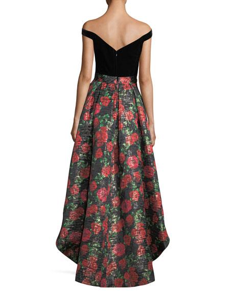 V-Neck Velvet Bodice High-Low Evening Gown w/ Floral Jacquard Skirt