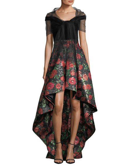 Jovani v neck velvet bodice high low evening gown w floral jovani v neck velvet bodice high low evening gown w floral jacquard skirt neiman marcus junglespirit Gallery