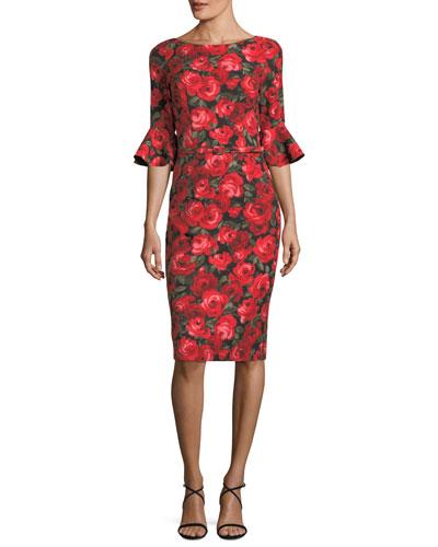 Floral-Print Trumpet-Sleeve Sheath Dress