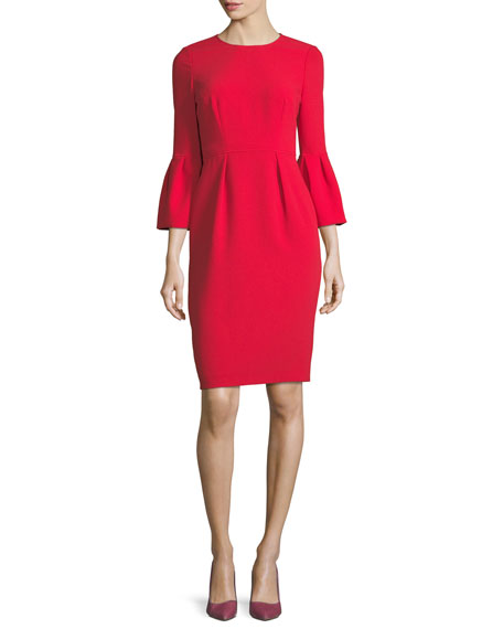 Jewel-Neck Trumpet Sleeve Sheath Dress
