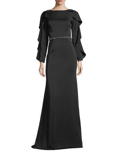 Bateau-Neck Slit-Sleeve Illusion-Back Evening Gown