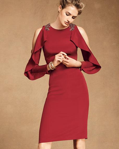 Split Ruffle Long-Sleeve Embellished Cocktail Dress
