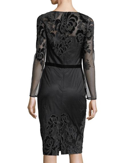 Long-Sleeve Lace Velvet Devoré Sheath Cocktail Dress