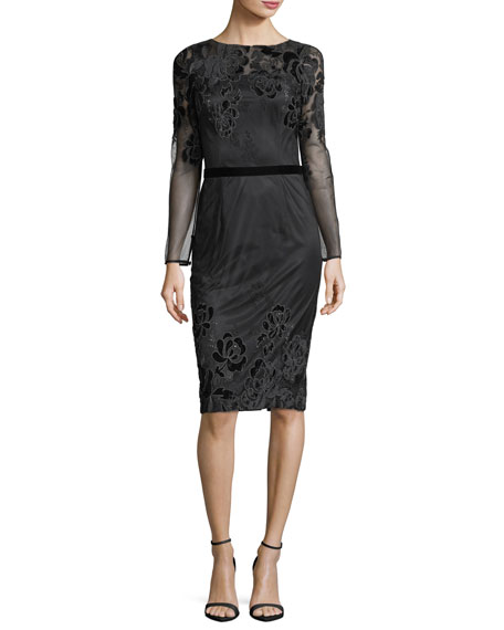 David Meister Long-Sleeve Lace Velvet Devor?? Sheath Cocktail