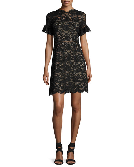 Rebecca Taylor Short-Sleeve V-Neck Lace Dress