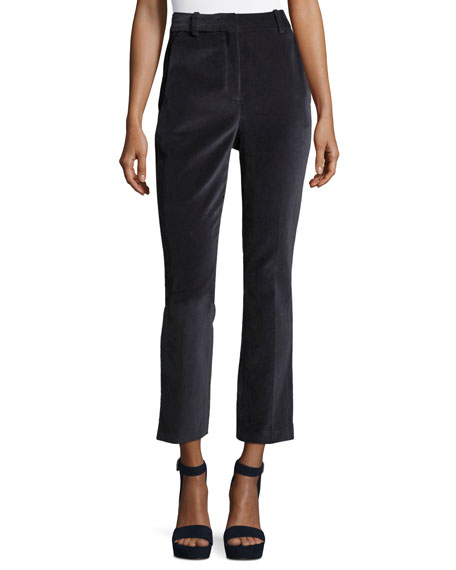 Rebecca Taylor High-Waist Straight-Leg Stretch-Velvet Pants