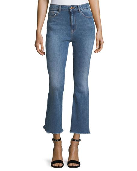 DL1961 Premium Denim Jackie Trimtone Crop Flare Jeans