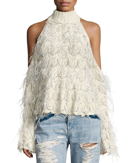 Jonathan Simkhai Sparkle Knit Feathered Cold-Shoulder Turtleneck