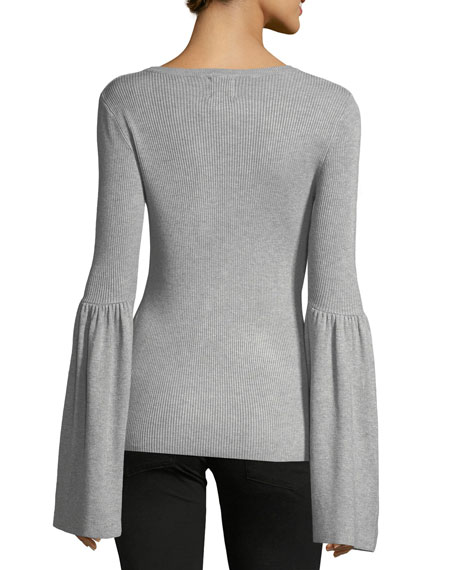 Flare-Sleeve Ribbed Sweater