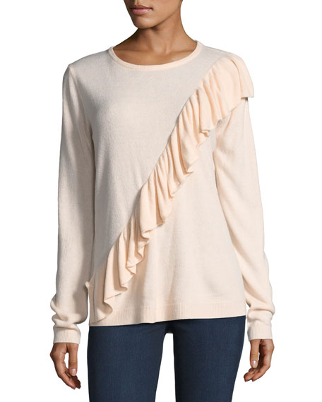 Mag By Magaschoni Cascade-Ruffle Crewneck Sweater