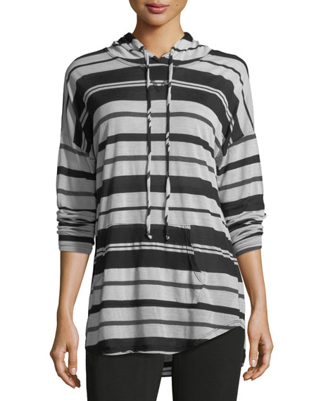 Long-Sleeve Striped Hoodie Top