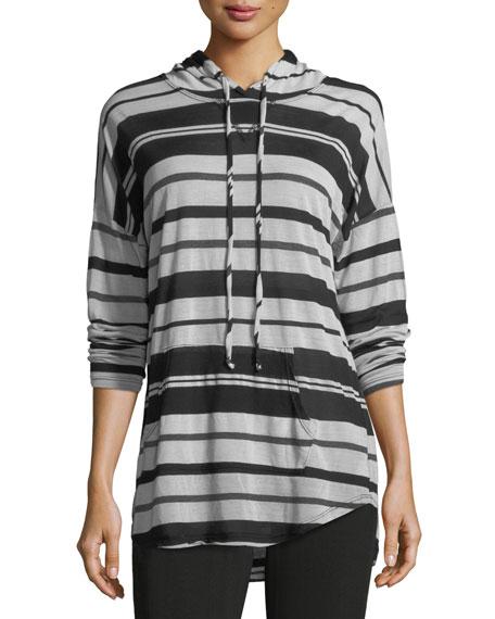 Long-Sleeve Striped Hoodie Top