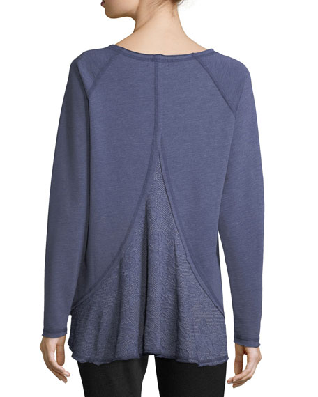 Long-Sleeve Cotton-Blend Top