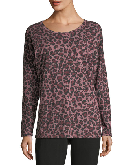 Leopard-Print Dolman-Sleeve Top
