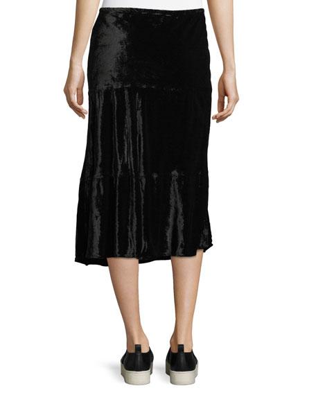Long Tiered Velvet Skirt