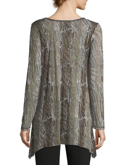 Angled-Hem Snakeskin-Print Tunic