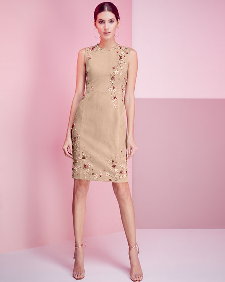 Emily Sleeveless Suede Floral Applique Dress