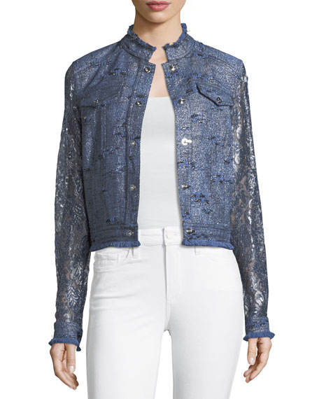 Elie Tahari Meggy Lace-Sleeve Jacket