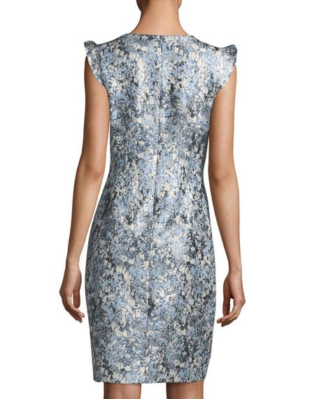 Stefana Shimmery Jacquard Sheath Dress