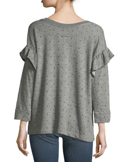 The Ruffle Star-Print Heathered Sweatshirt
