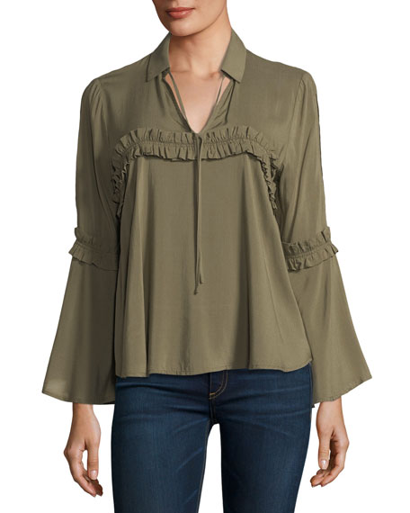 Ruffle-Trim Long-Sleeve Blouse