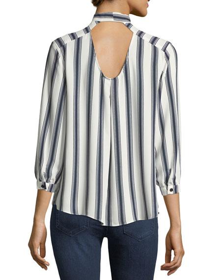 Striped Tie-Neck Blouse
