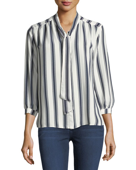 Striped Tie-Neck Blouse