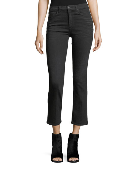 Hana High-Rise Skinny Cropped Jeans w/ Fringe Hem